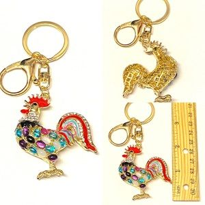 Rooster Keychain Farm Animal Key Ring Purse Charm